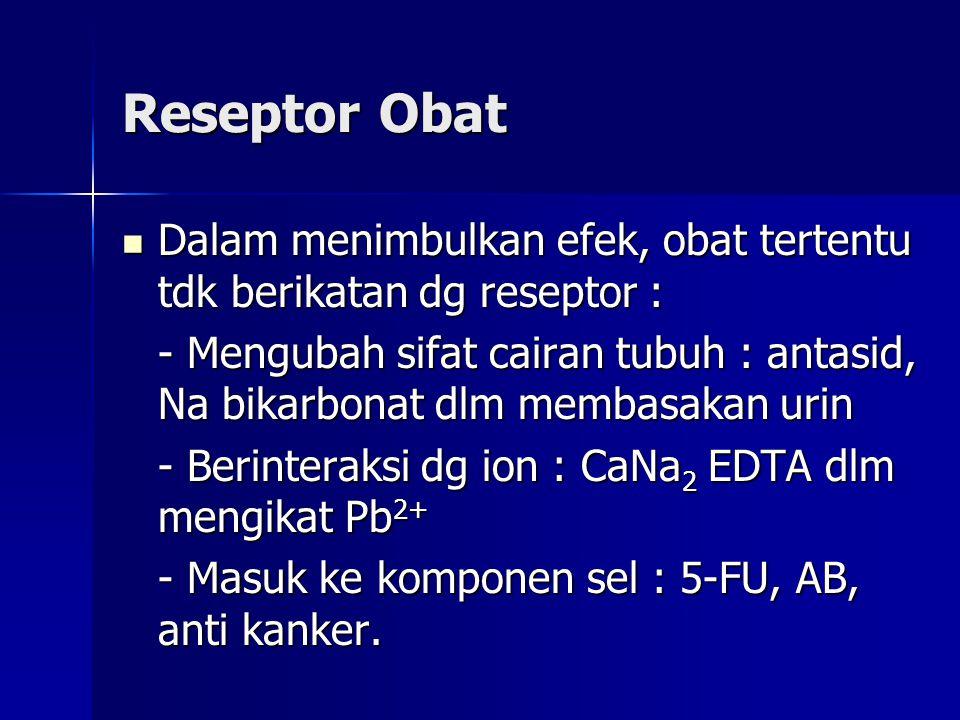 Reseptor Obat Dalam menimbulkan efek, obat tertentu tdk berikatan dg reseptor :