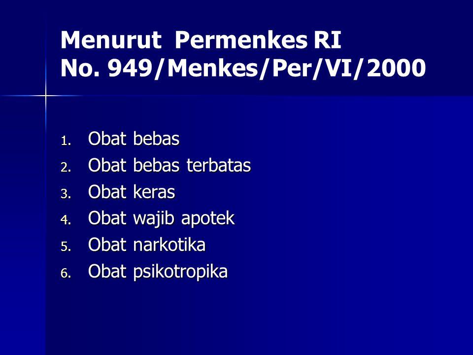 Menurut Permenkes RI No. 949/Menkes/Per/VI/2000