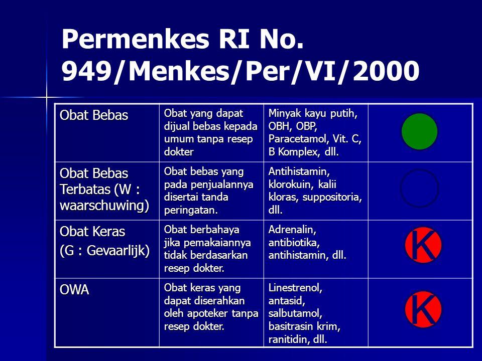 Permenkes RI No. 949/Menkes/Per/VI/2000