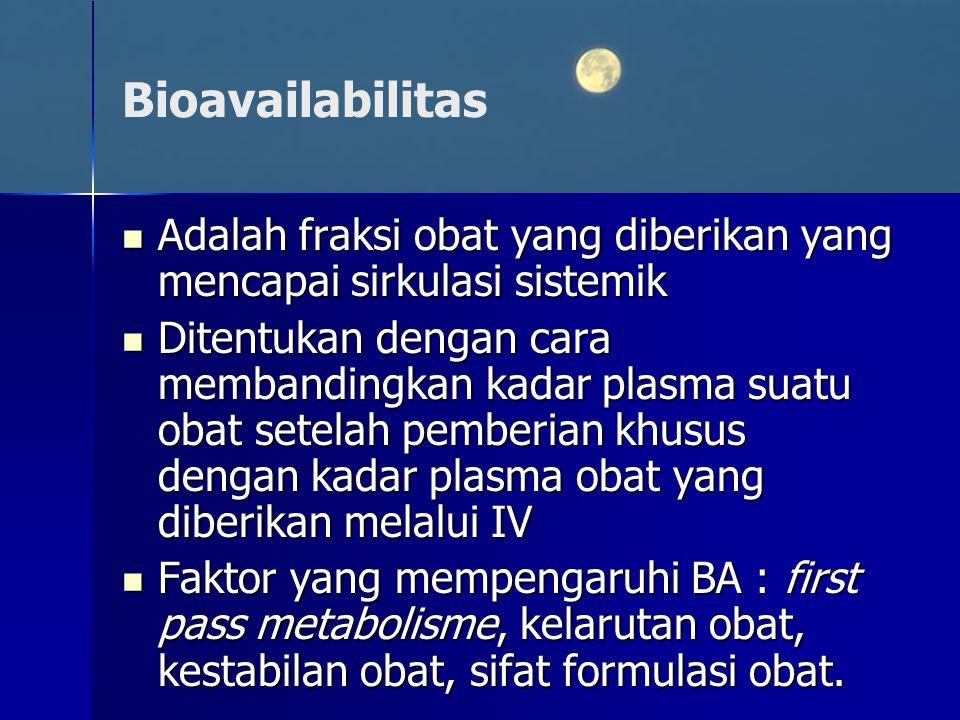 Bioavailabilitas Adalah fraksi obat yang diberikan yang mencapai sirkulasi sistemik.