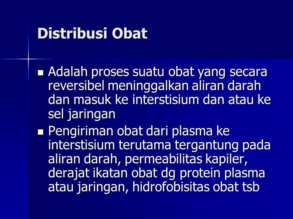 Distribusi Obat Adalah proses suatu obat yang secara reversibel meninggalkan aliran darah dan masuk ke interstisium dan atau ke sel jaringan.