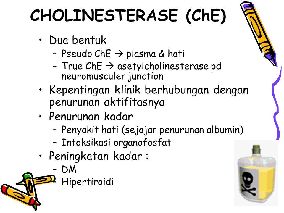 CHOLINESTERASE (ChE) Dua bentuk