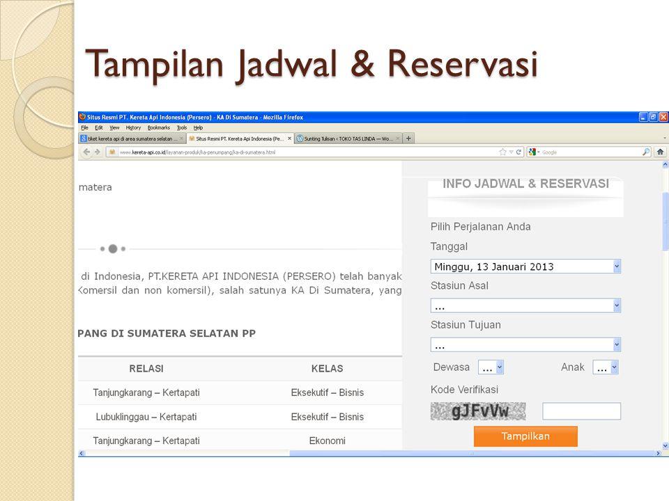 Tampilan Jadwal & Reservasi