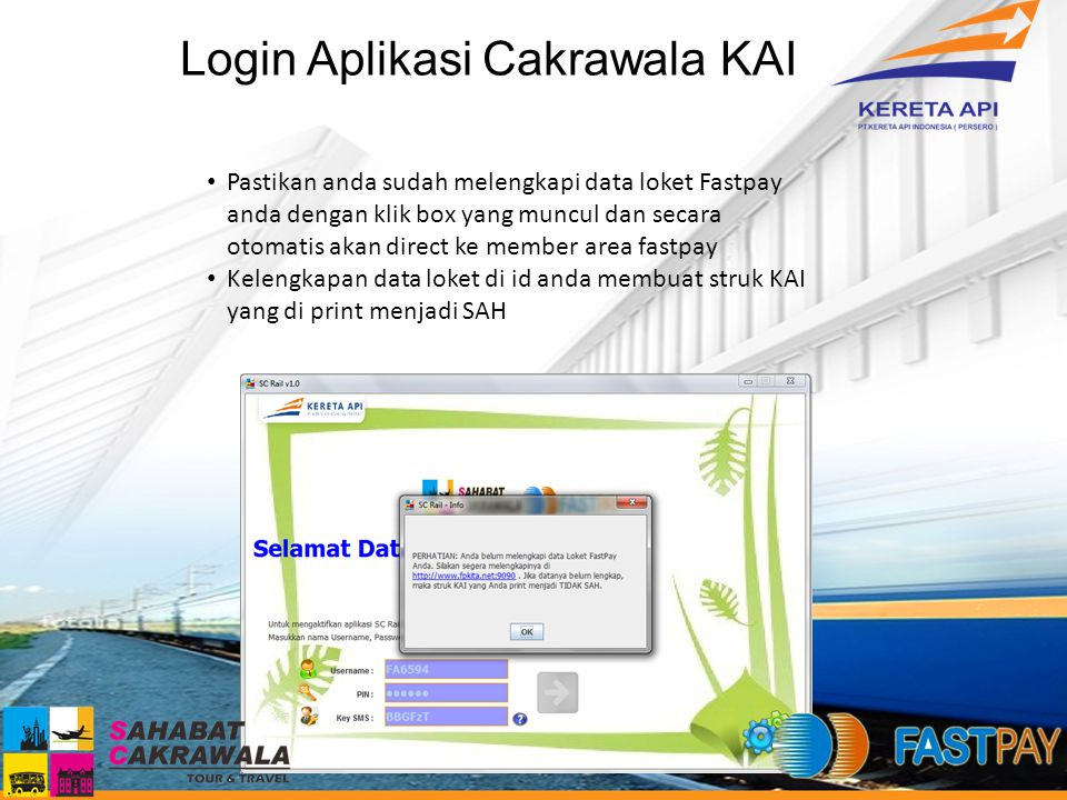 Login Aplikasi Cakrawala KAI