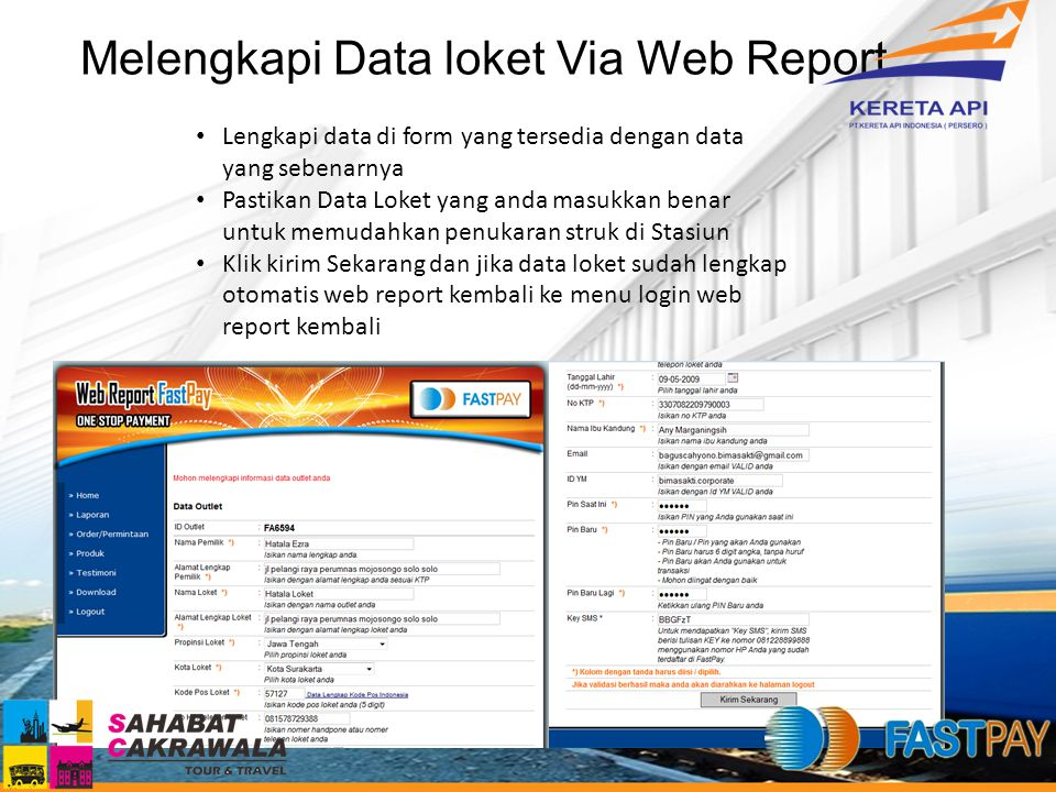 Melengkapi Data loket Via Web Report