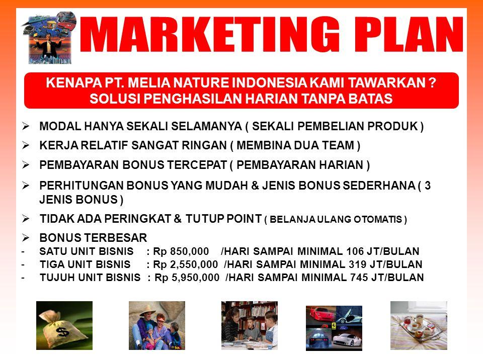 MARKETING PLAN KENAPA PT. MELIA NATURE INDONESIA KAMI TAWARKAN