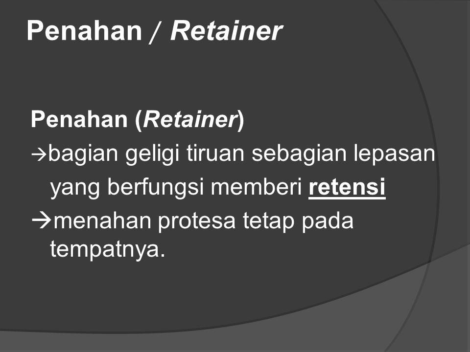 Penahan / Retainer Penahan (Retainer) yang berfungsi memberi retensi