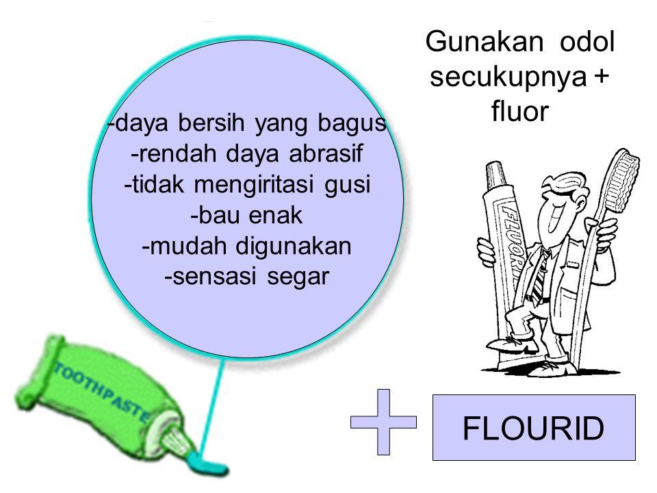 FLOURID Gunakan odol secukupnya + fluor -daya bersih yang bagus