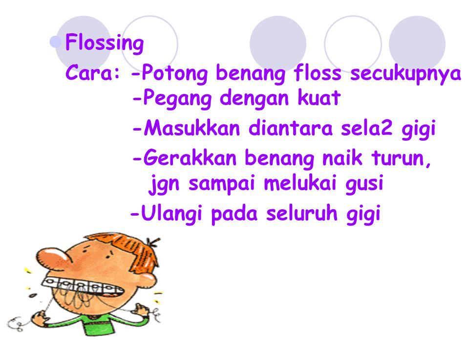 Flossing Cara: -Potong benang floss secukupnya -Pegang dengan kuat. -Masukkan diantara sela2 gigi.