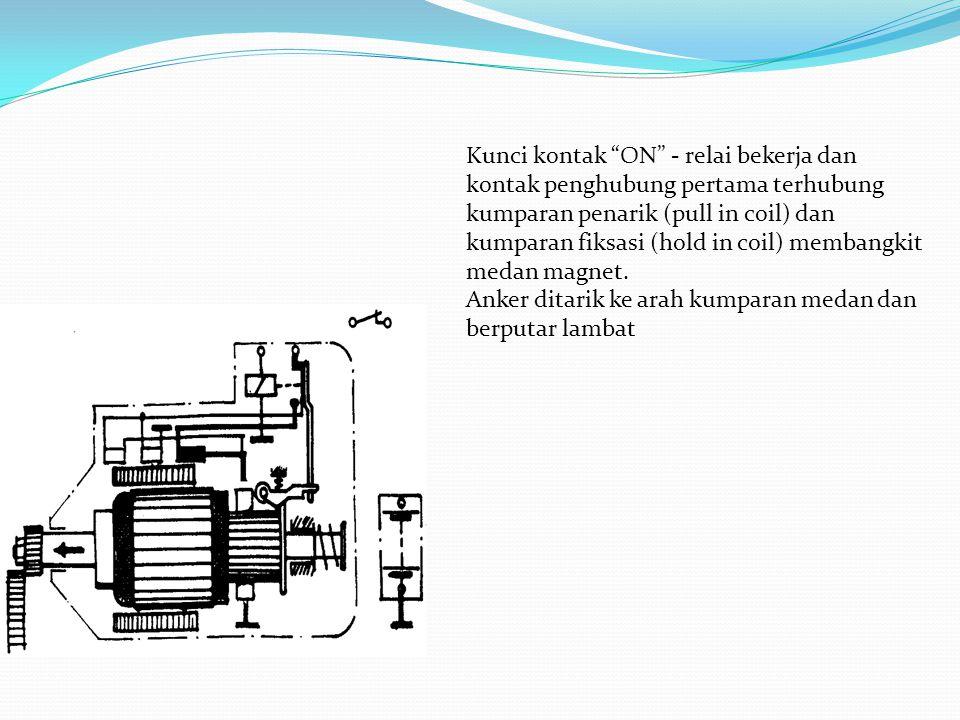 Kunci kontak ON - relai bekerja dan kontak penghubung pertama terhubung kumparan penarik (pull in coil) dan kumparan fiksasi (hold in coil) membangkit medan magnet.
