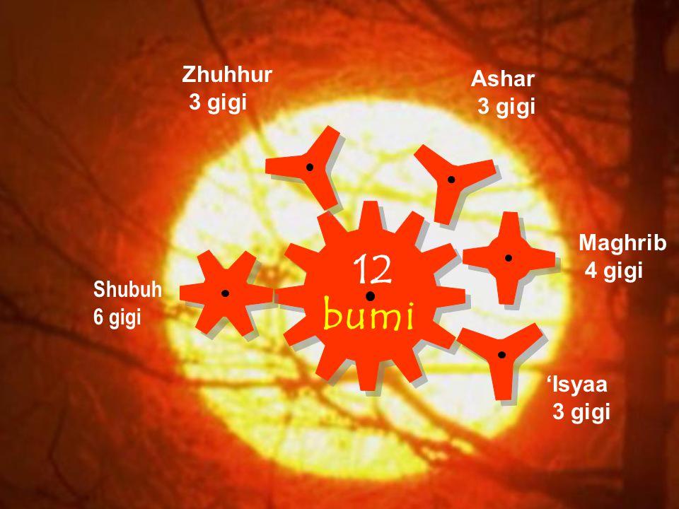 12 bumi Zhuhhur Ashar 3 gigi 3 gigi Maghrib 4 gigi Shubuh 6 gigi