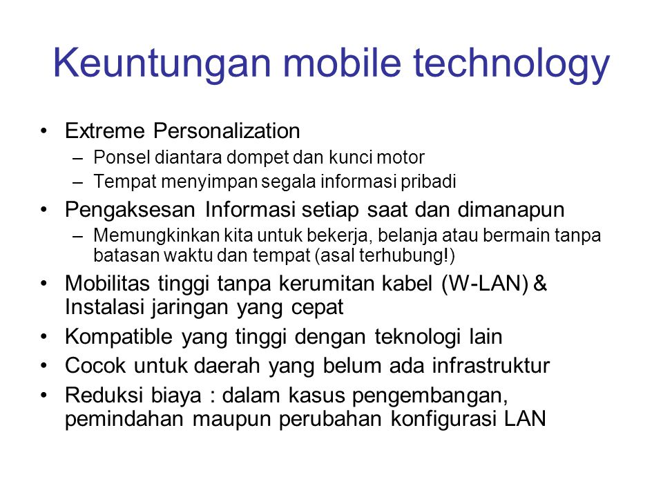 Keuntungan mobile technology