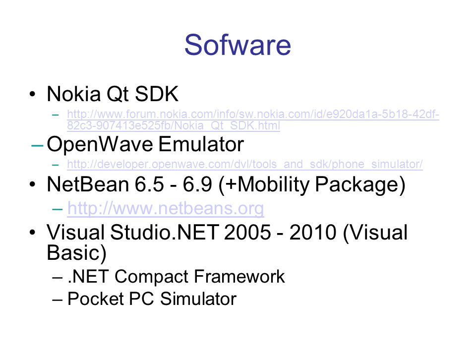 Sofware Nokia Qt SDK OpenWave Emulator