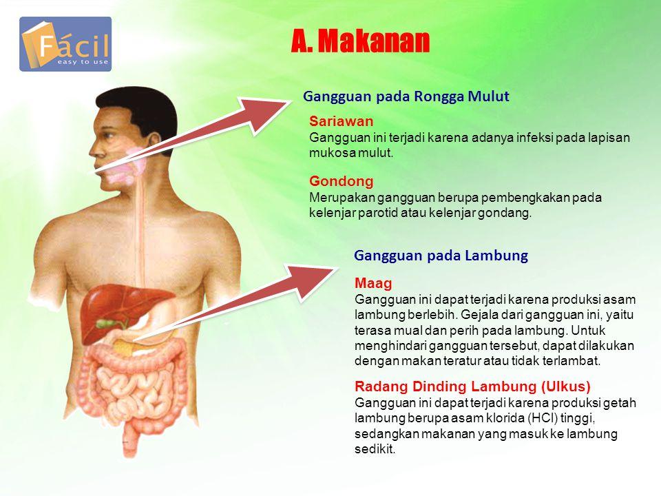 A. Makanan Gangguan pada Rongga Mulut Gangguan pada Lambung Sariawan