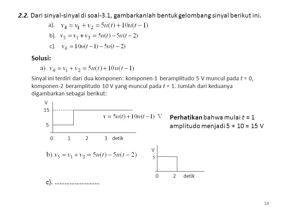 Perhatikan bahwa mulai t = 1 amplitudo menjadi 5 + 10 = 15 V