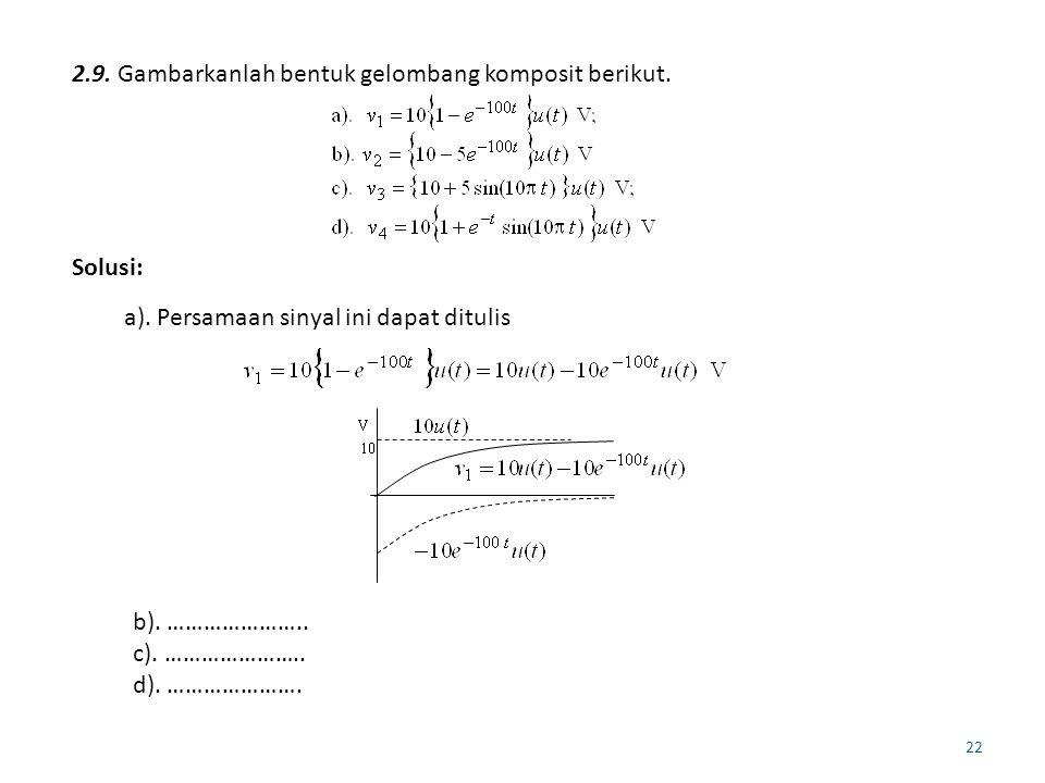 2.9. Gambarkanlah bentuk gelombang komposit berikut.