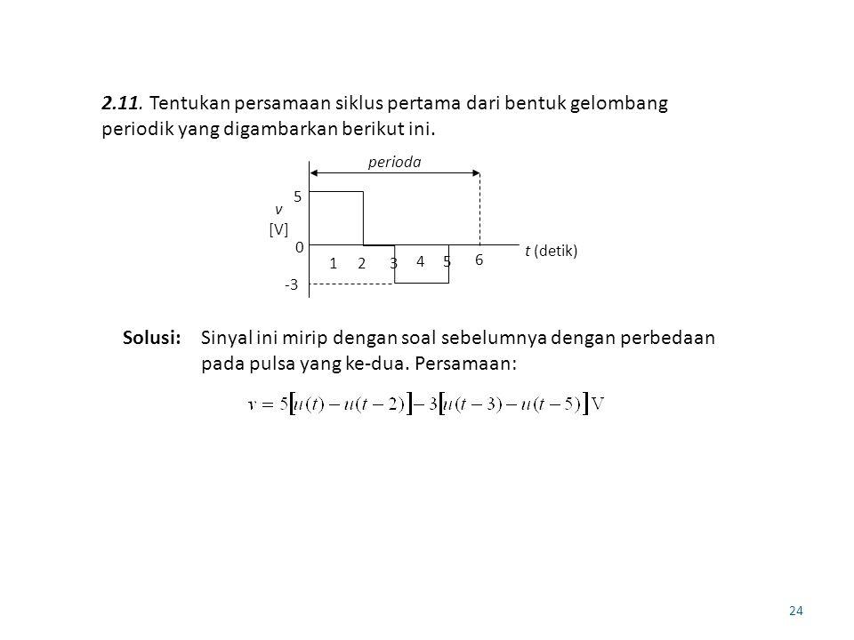 2.11. Tentukan persamaan siklus pertama dari bentuk gelombang periodik yang digambarkan berikut ini.