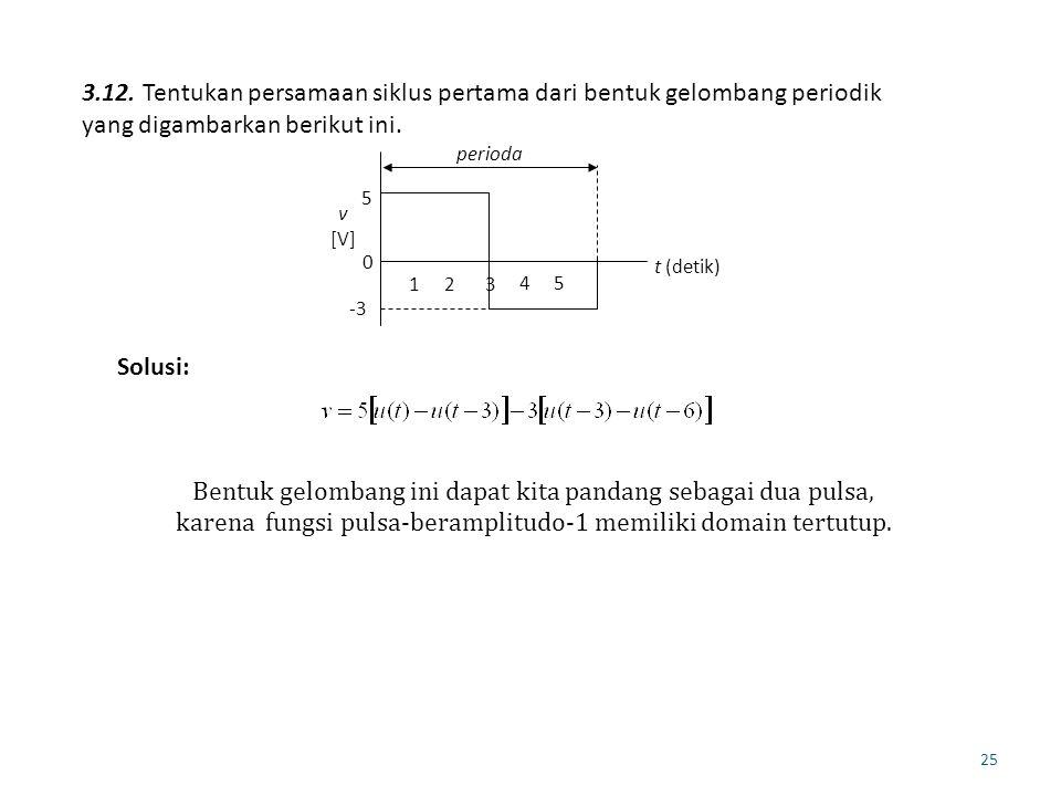 3.12. Tentukan persamaan siklus pertama dari bentuk gelombang periodik yang digambarkan berikut ini.
