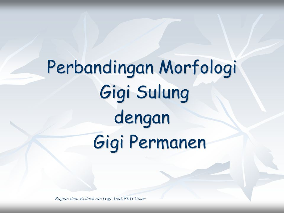 Perbandingan Morfologi