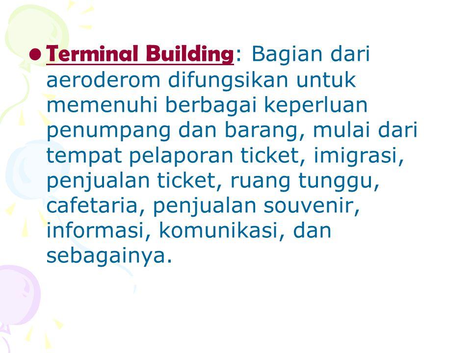 Terminal Building: Bagian dari aeroderom difungsikan untuk memenuhi berbagai keperluan penumpang dan barang, mulai dari tempat pelaporan ticket, imigrasi, penjualan ticket, ruang tunggu, cafetaria, penjualan souvenir, informasi, komunikasi, dan sebagainya.