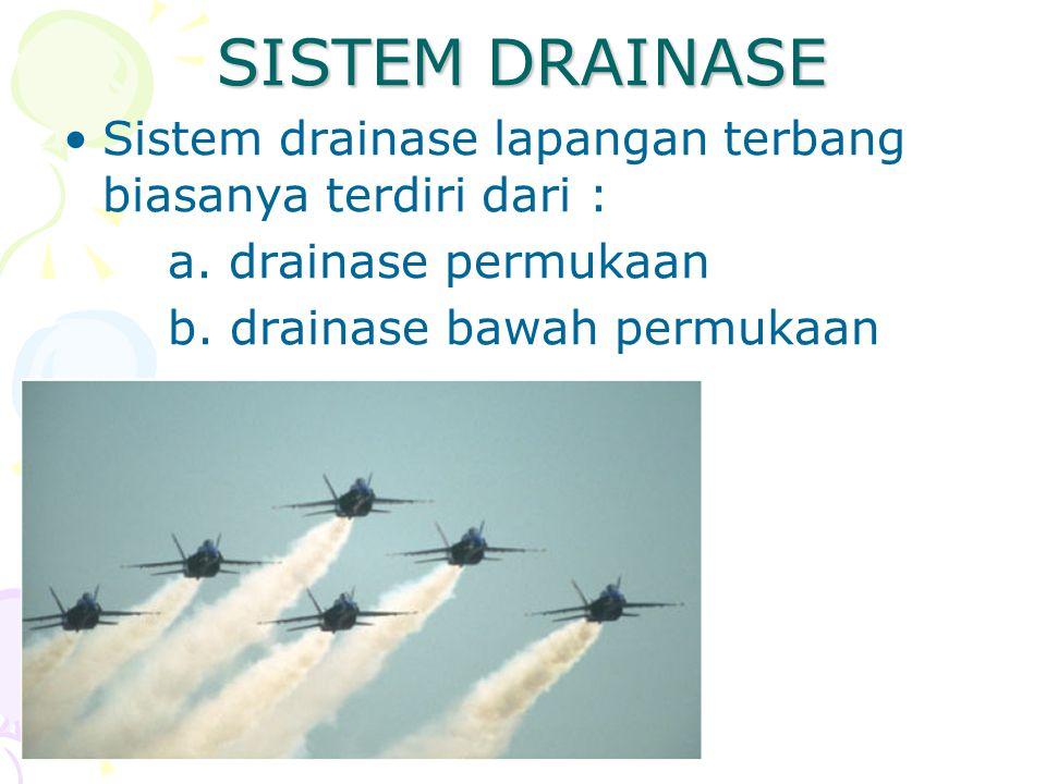 SISTEM DRAINASE Sistem drainase lapangan terbang biasanya terdiri dari : a.
