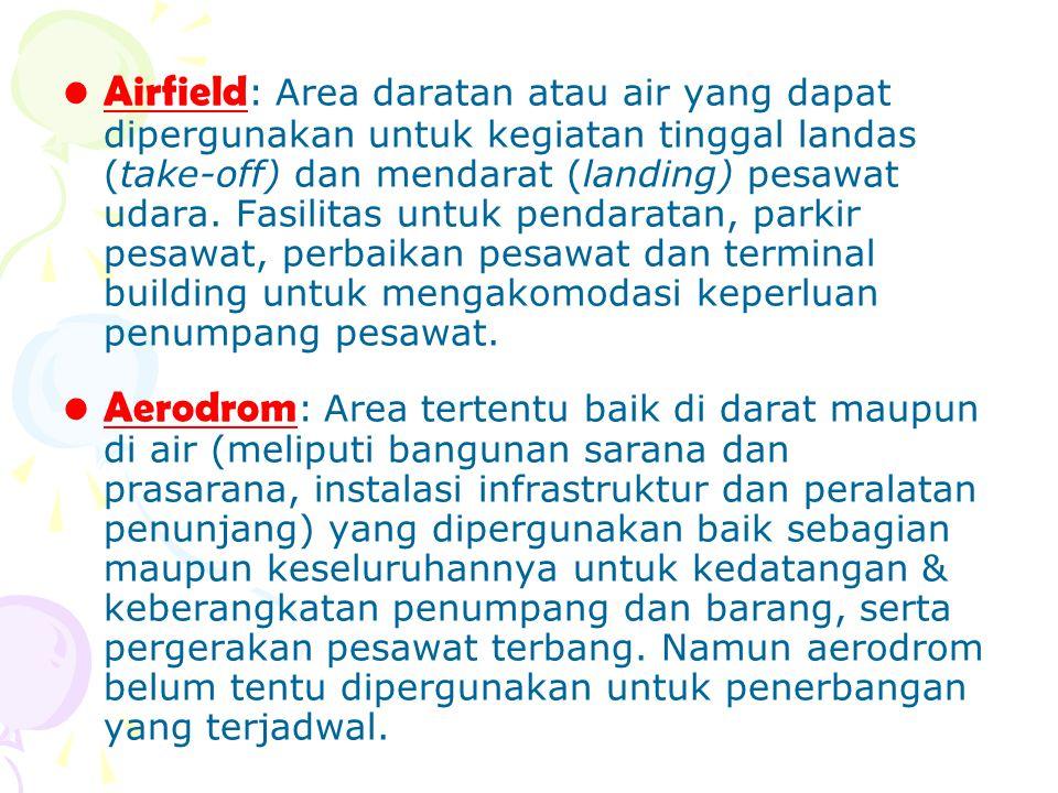 Airfield: Area daratan atau air yang dapat dipergunakan untuk kegiatan tinggal landas (take-off) dan mendarat (landing) pesawat udara. Fasilitas untuk pendaratan, parkir pesawat, perbaikan pesawat dan terminal building untuk mengakomodasi keperluan penumpang pesawat.