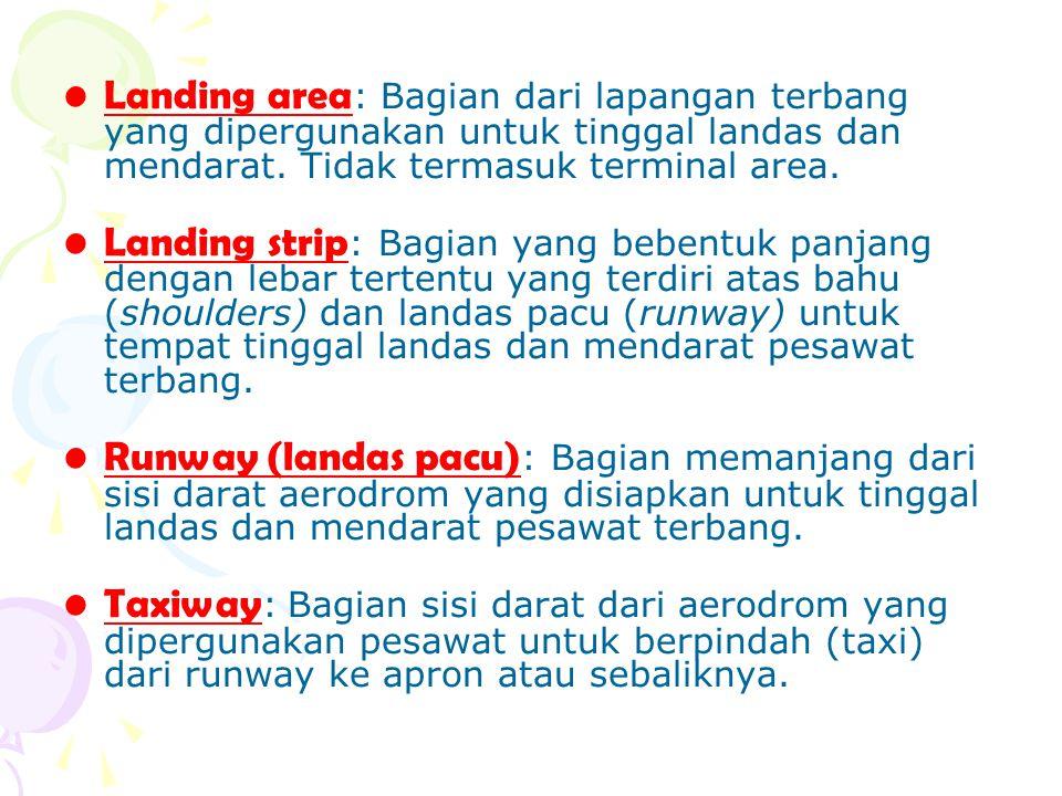 Landing area: Bagian dari lapangan terbang yang dipergunakan untuk tinggal landas dan mendarat. Tidak termasuk terminal area.