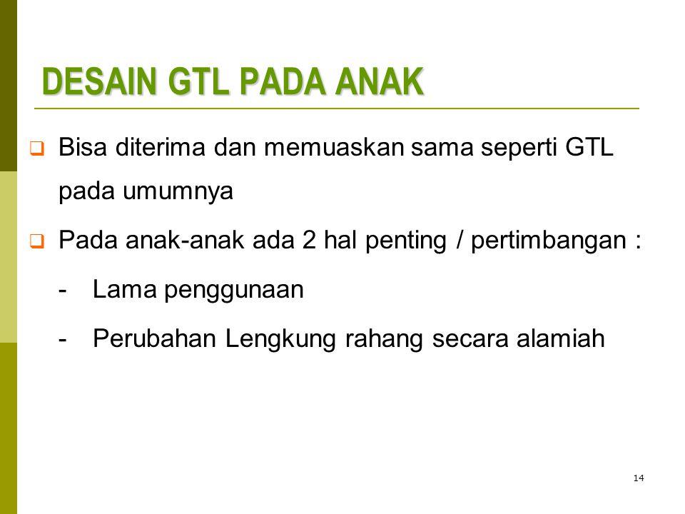 DESAIN GTL PADA ANAK Bisa diterima dan memuaskan sama seperti GTL pada umumnya. Pada anak-anak ada 2 hal penting / pertimbangan :