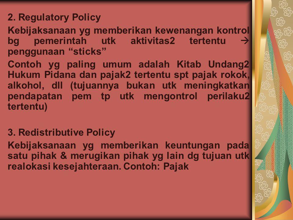 2. Regulatory Policy Kebijaksanaan yg memberikan kewenangan kontrol bg pemerintah utk aktivitas2 tertentu  penggunaan sticks