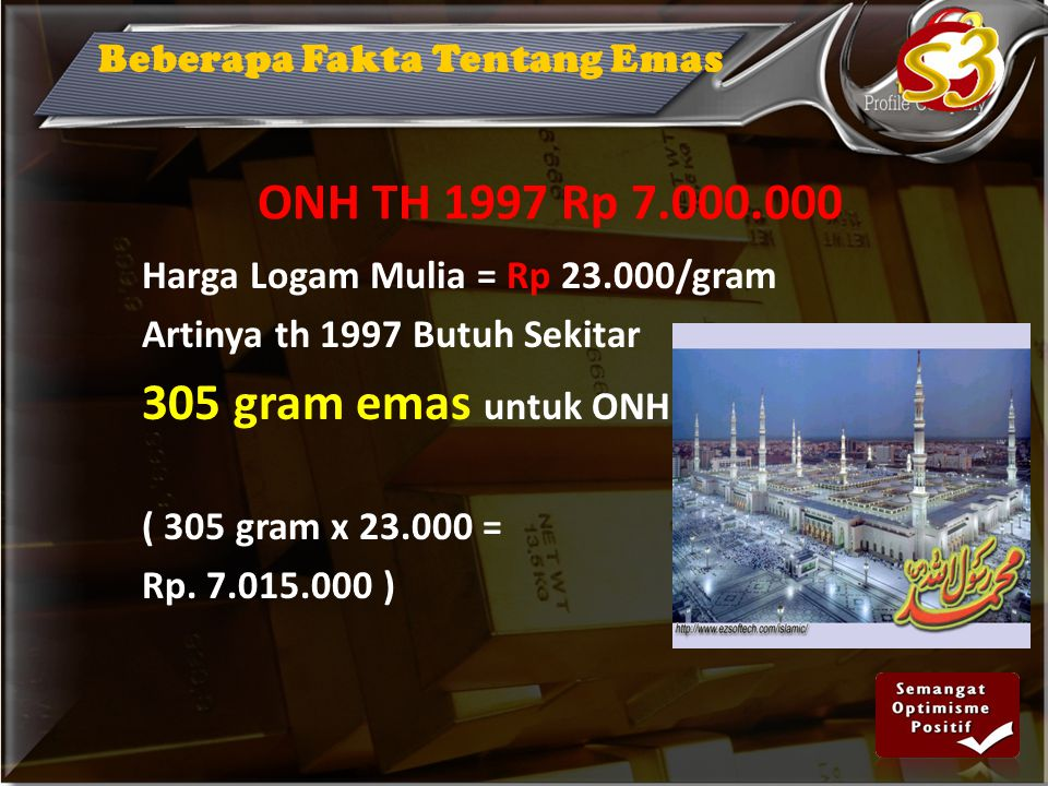 ONH TH 1997 Rp 7.000.000 305 gram emas untuk ONH