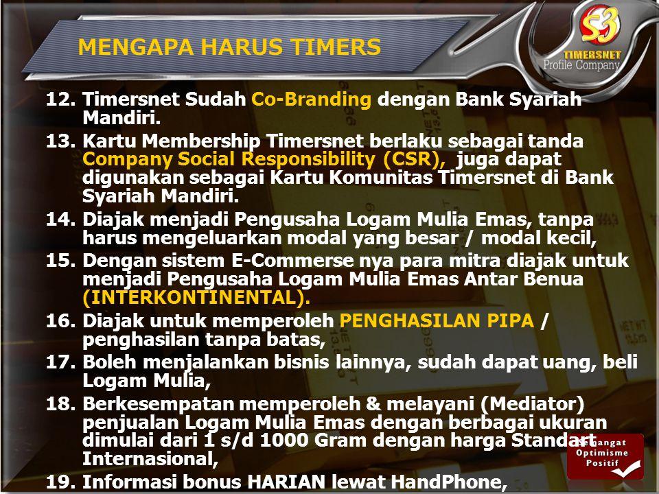 MENGAPA HARUS TIMERS Timersnet Sudah Co-Branding dengan Bank Syariah Mandiri.