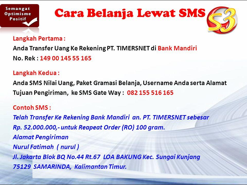 Cara Belanja Lewat SMS Langkah Pertama :