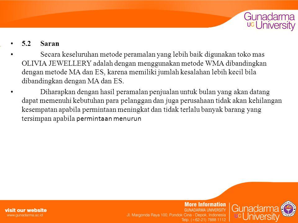 5.2 Saran