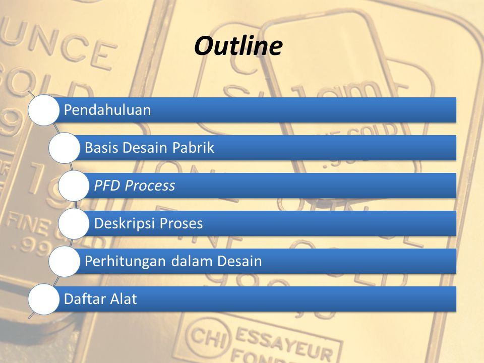 Outline Pendahuluan Basis Desain Pabrik PFD Process Deskripsi Proses