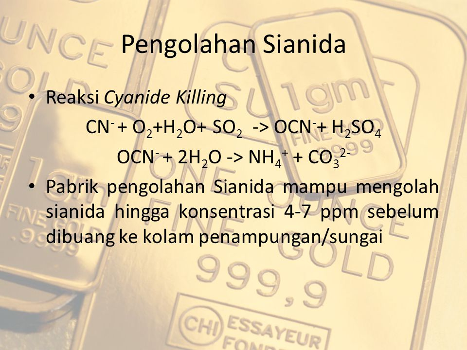 CN- + O2+H2O+ SO2 -> OCN-+ H2SO4