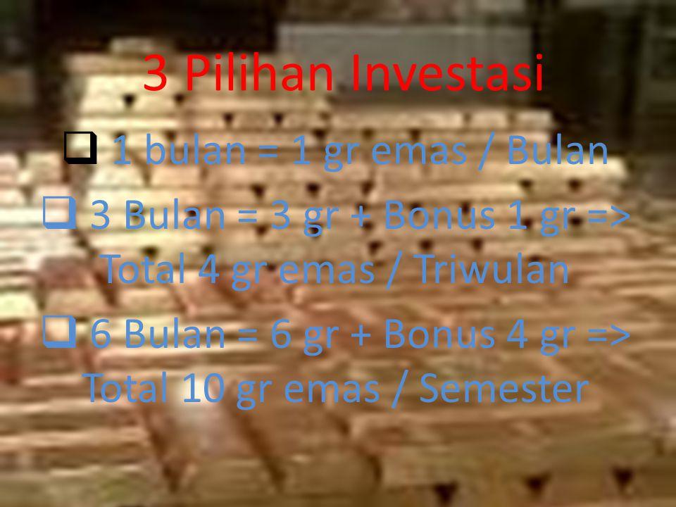 3 Pilihan Investasi 1 bulan = 1 gr emas / Bulan