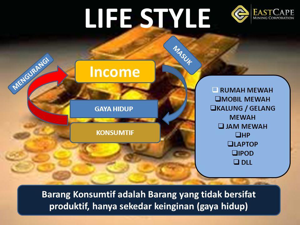 LIFE STYLE MASUK. Income. MENGURANGI. RUMAH MEWAH. MOBIL MEWAH. KALUNG / GELANG MEWAH. JAM MEWAH.