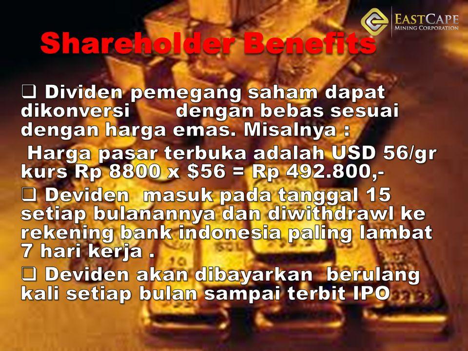 Shareholder Benefits Dividen pemegang saham dapat dikonversi dengan bebas sesuai dengan harga emas. Misalnya :