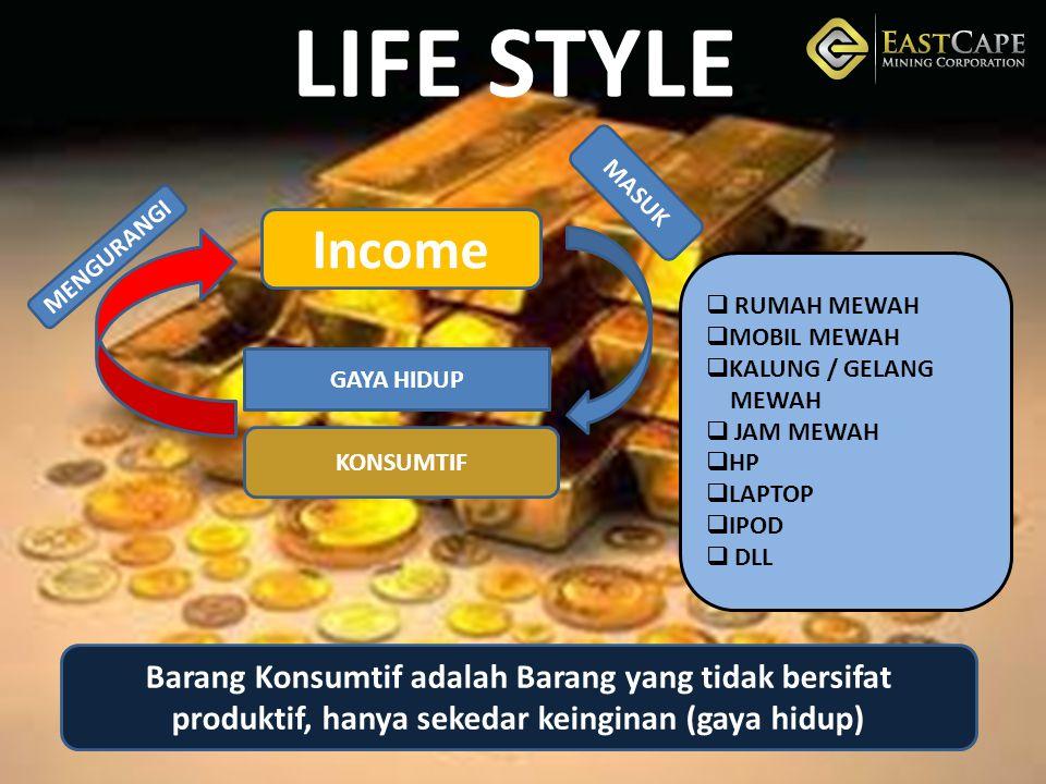 LIFE STYLE MASUK. Income. MENGURANGI. RUMAH MEWAH. MOBIL MEWAH. KALUNG / GELANG. MEWAH. JAM MEWAH.