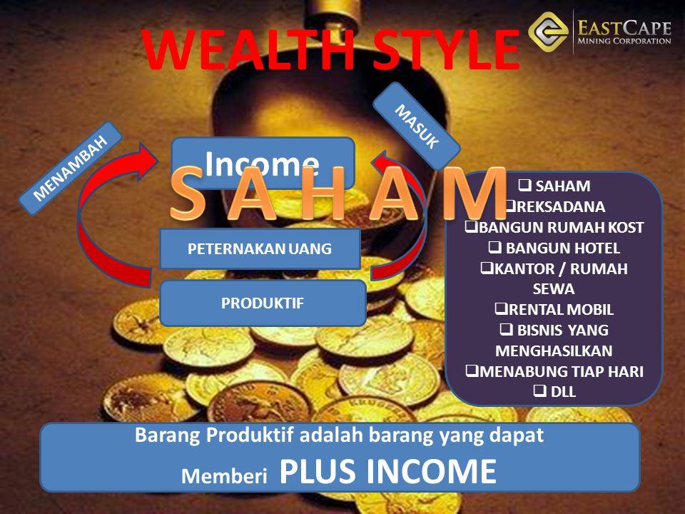 S A H A M WEALTH STYLE PELUANG BISNIS YANG LAGI TRAND SAAT INI Income