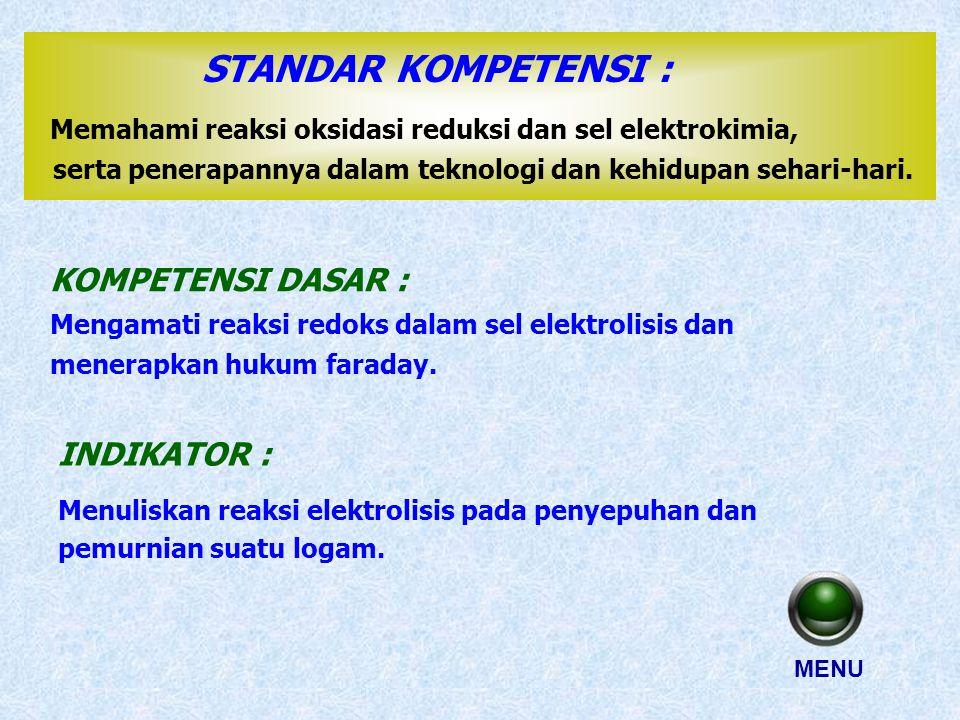 STANDAR KOMPETENSI : Memahami reaksi oksidasi reduksi dan sel elektrokimia, serta penerapannya dalam teknologi dan kehidupan sehari-hari.