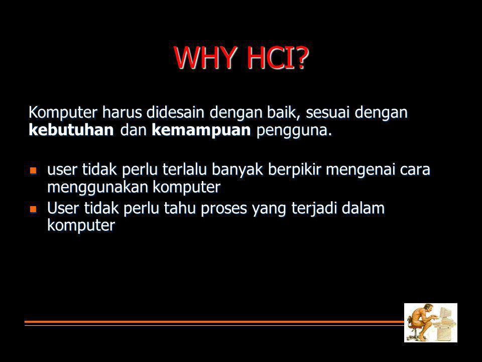 WHY HCI Komputer harus didesain dengan baik, sesuai dengan kebutuhan dan kemampuan pengguna.