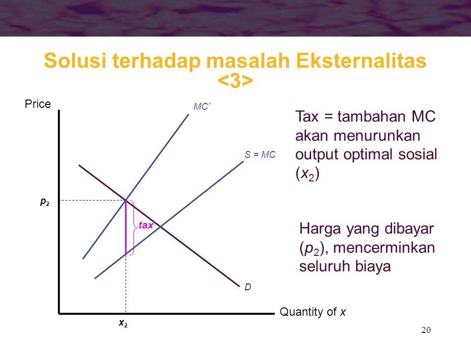 Solusi terhadap masalah Eksternalitas <3>