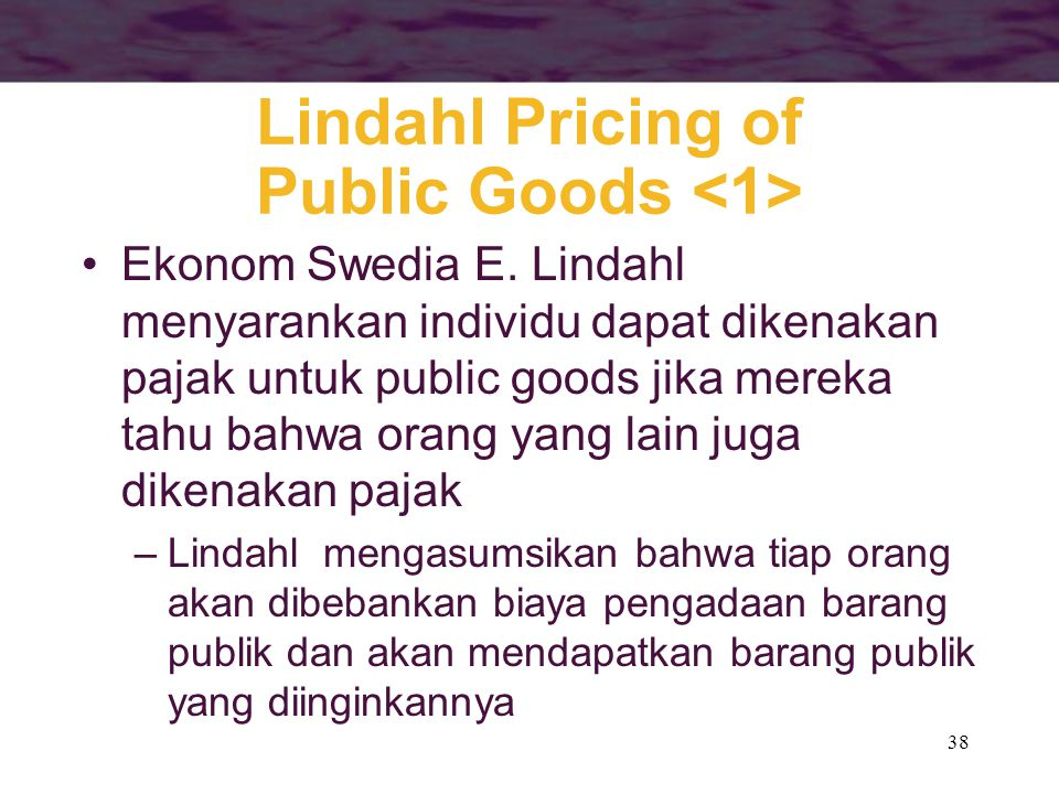 Lindahl Pricing of Public Goods <1>