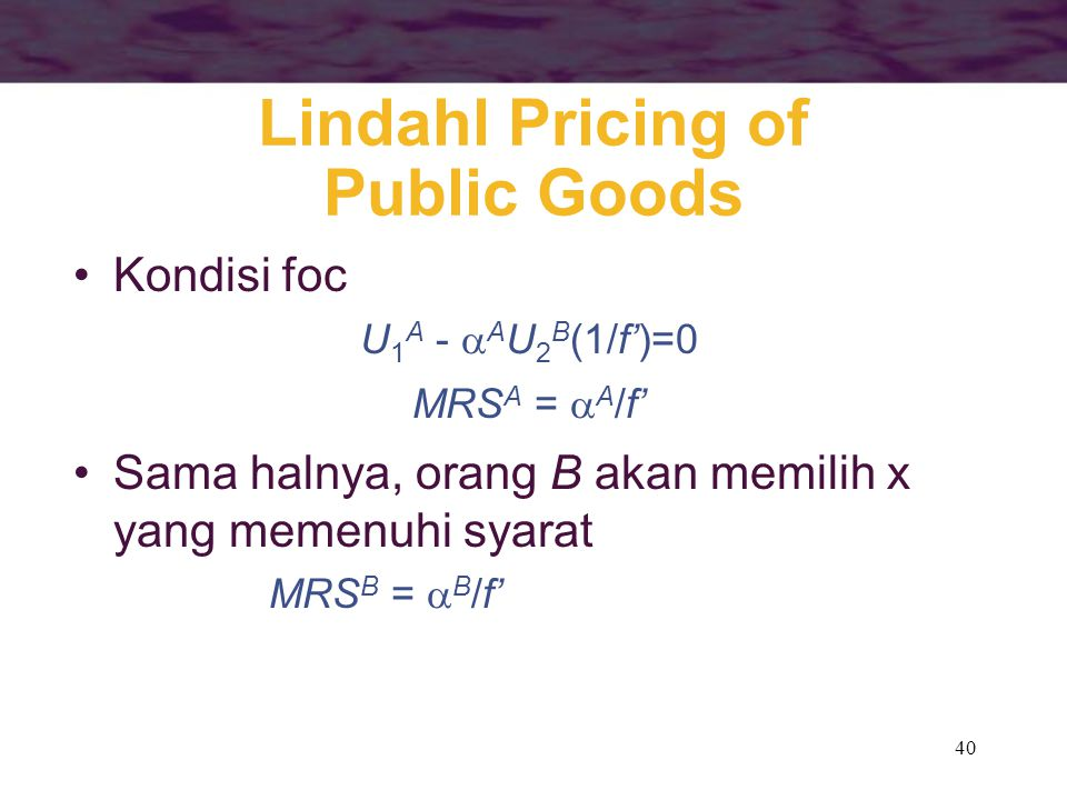Lindahl Pricing of Public Goods