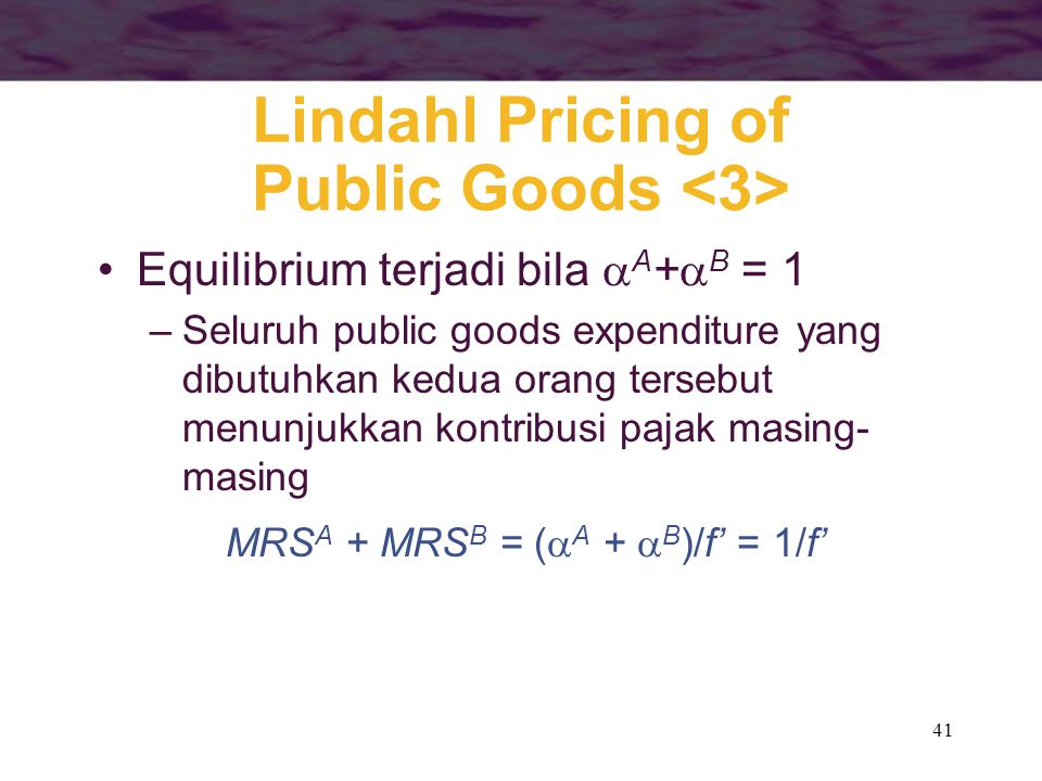 Lindahl Pricing of Public Goods <3>