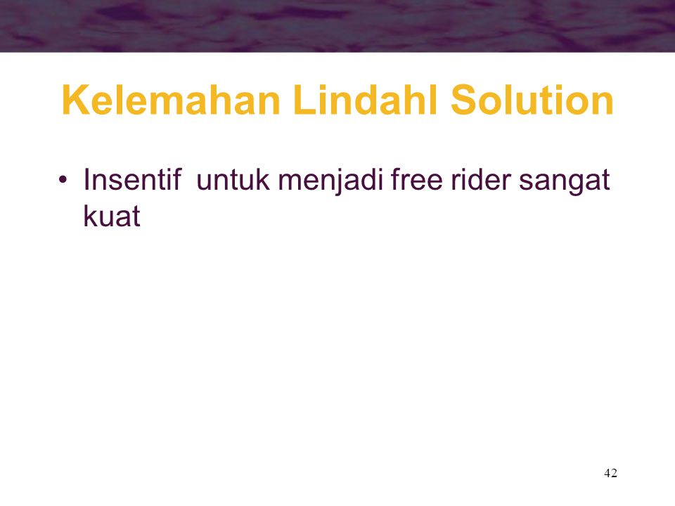 Kelemahan Lindahl Solution