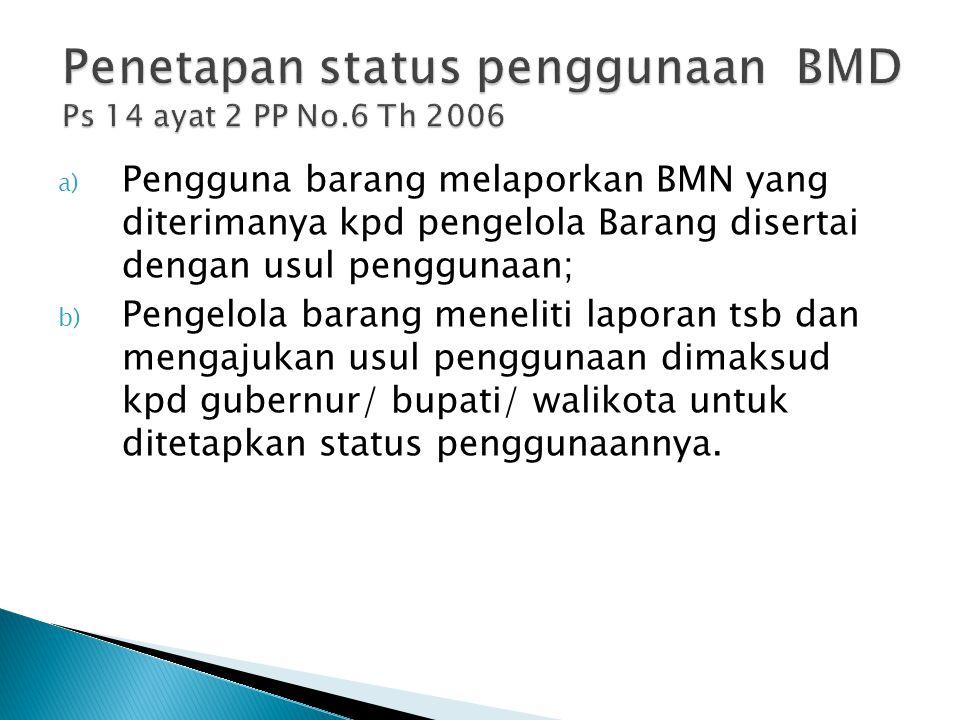 Penetapan status penggunaan BMD Ps 14 ayat 2 PP No.6 Th 2006
