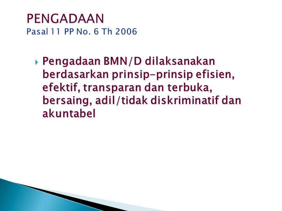 PENGADAAN Pasal 11 PP No. 6 Th 2006