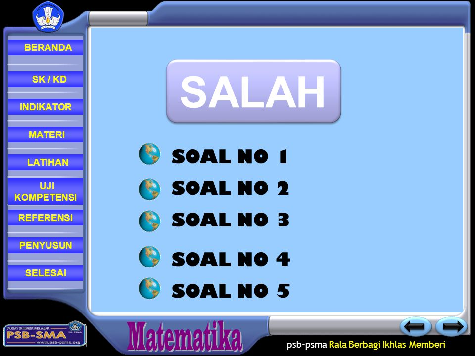 SALAH SOAL NO 1 SOAL NO 2 SOAL NO 3 SOAL NO 4 SOAL NO 5